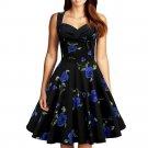 Hepburn Style Vintage Big Peplum Printing Dress   blue