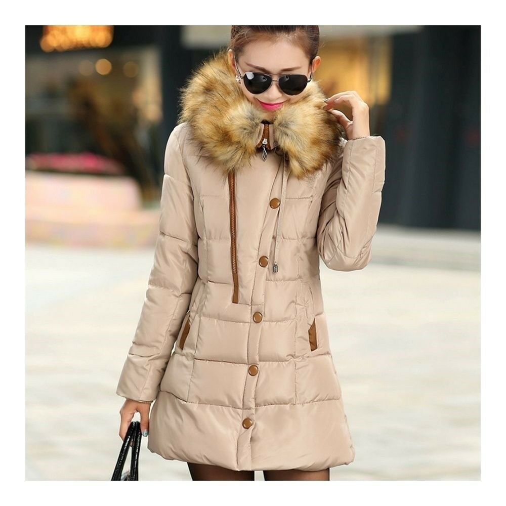 Winter Woman Slim Middle Long Plus Size Down Coat   khaki