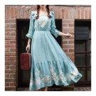 Mercerized Cotton Embroidery Craft Vintage Long Dress    sky blue   S