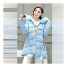 Winter Woman Middle Long Thick Down Coat Plus Sizeight blue