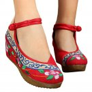 Old Beijing Cloth Embroidered Shoes Casual   red