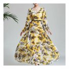 Printing Leaf Long Sleeve Round Collar Long Dress   S