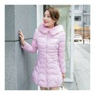 Winter Woman Down Coat Fur Collar Thick Warm Middle Long   pink