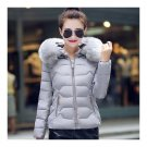 Winter Slim Chic Fur Collar Short Down Coat Woman Hooded    grey