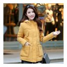 Winter Woman Middle Long Slim Cotton Coat Hoodied Thick    ginger yellow   M
