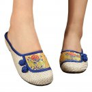 Old Beijing Cloth Embroidered Shoes Flax Slippers  blue