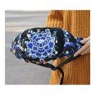 New Original Design Cosmetic Bag Woman's Bag High Volume Waist Bag    blue and w