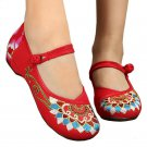 Old Beijing Cloth Embroidered Shoes Flat Casual   red