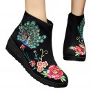 Peacock Vintage Beijing Cloth Shoes Embroidered Boots black 35