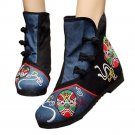 Vintage Beijing Cloth Shoes Embroidered Boots black with cotton 35