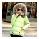 Winter Slim Candy Color Fur Collar Short Down Coat light green