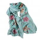 Embroidery Scarf Woman National Style Tippet   bean green