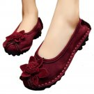 Suede Gommino Causal Women Thin Shoes  wine red