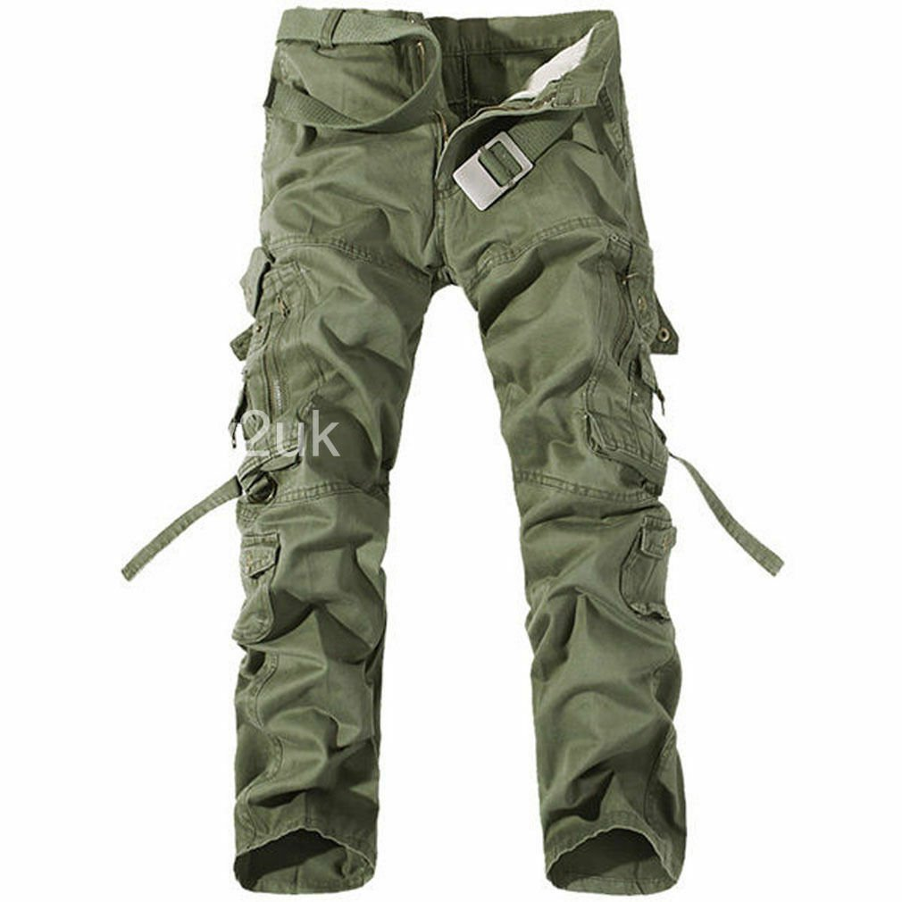 Mens Work Trousers Military Army Cargo  Combat Multi-pocket Pants Camo