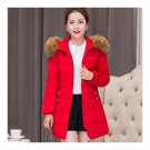 Woman Slim Middle Long Hoodied Thick Fur Collar Down Coat    red