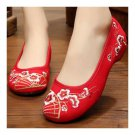 Plum Blossom Old Beijing Cloth Embroidered Shoes  red
