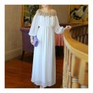 Court Style Heavy Industrial White Chiffon Long Dress  S