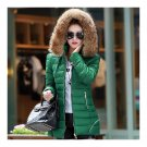 Winter Woman Slim Fashionable Middle Long Hoodied Cotton Coat    green   M