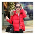Winter Slim Candy Color Fur Collar Short Down Coat red