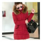 Winter Cotton Coat Slim Middle Long Fur Collar Hoodied    red    M