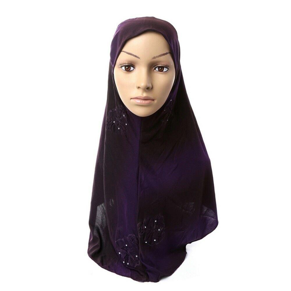 Dignified Muslim Kerchief Scarf Hat Zircon Printing   3