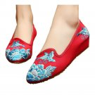 Butterfly with Flower Pointed Last Slipsole Old Beijing Cloth Shoes   red