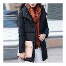 Down Coat Woman Middle Long Slim Plus Size Winter   black