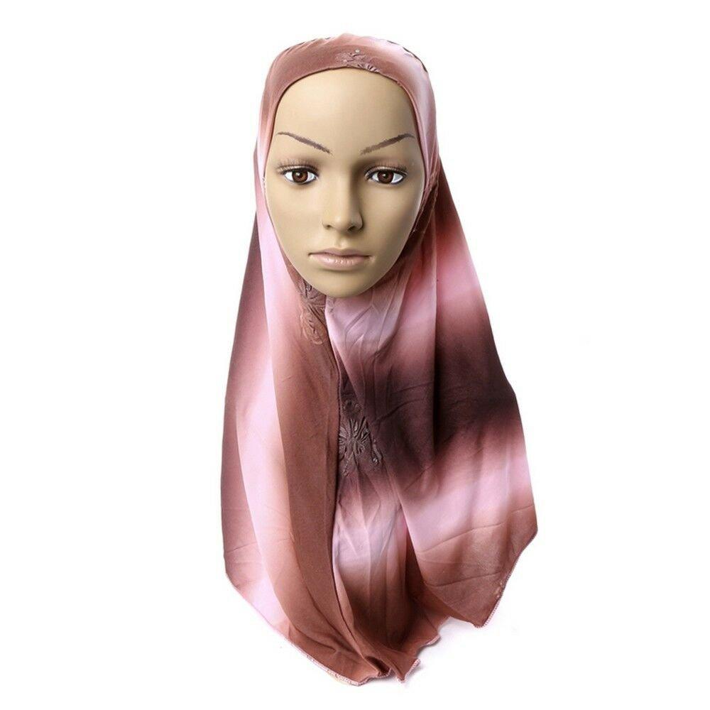 Dignified Temperament Muslim Kerchief Scarf Hat Zircon Printing   7