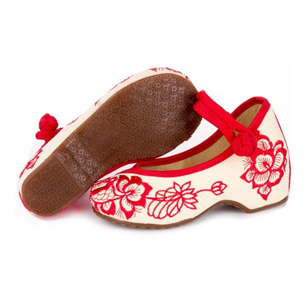 Old Beijing Embroidered Cloth Shoes Kid Increased within   red