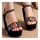 Embroidered Shoes Platform Slipsole Sandals   black