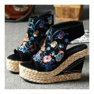High Heel Embroidered Shoes Slipsole Sandals   black
