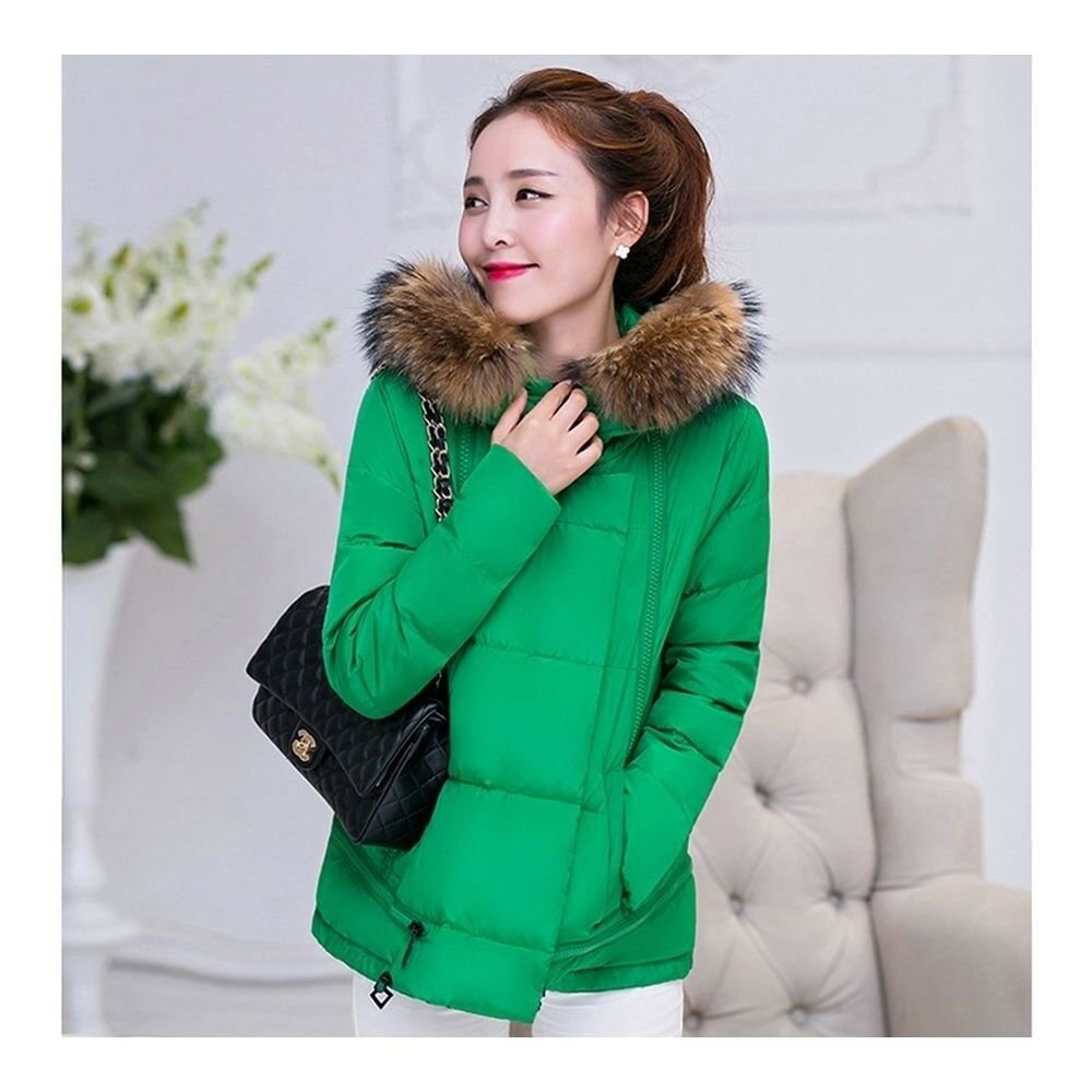 Winter Cotton Coat Slim Plus Size Thick Down Coat   emerald green
