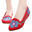 Old Beijing Cloth Embroidered Shoes 5 Petal Flower  red