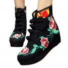 Four Shoelace Vintage Beijing Cloth Shoes Embroidered Boots   black thin shoes