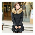 Middle Long Hoodied Fur Collar Casual Slim Thick Cotton Coat   black