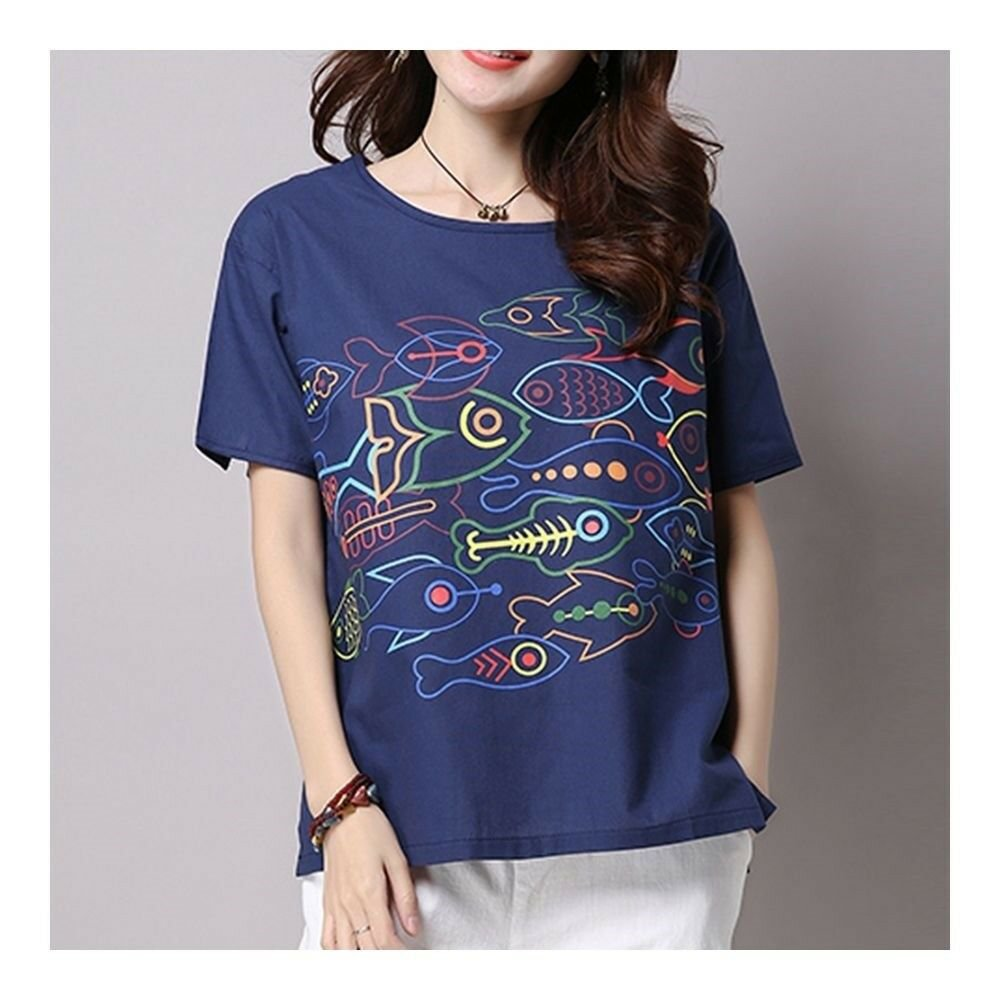 Loose Casual Little Fish Short Sleeve T-shirt   dark blue