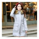 Winter Woman Middle Long Woman Thick Fur Collar Cotton Coat  grey