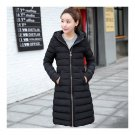 Winter Slim Woman Middle Long Hoodied Cotton Coat   black   M