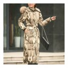 Big Fur Collar Plus Size Extra Long Thick Slim Down Coat    camouflage