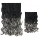 "24"" 5 clips cards Gradient Ramp Hair Extension Curly waves 60 x 25 cm"