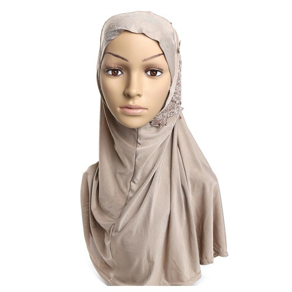 Dignified Temperament Muslim Gauze Lace Zircon Kerchief Scarf    khaki