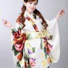 Vintage Retro LuxuriousJapanese Garment Kimono Cosplay Costume Yukata Gown white