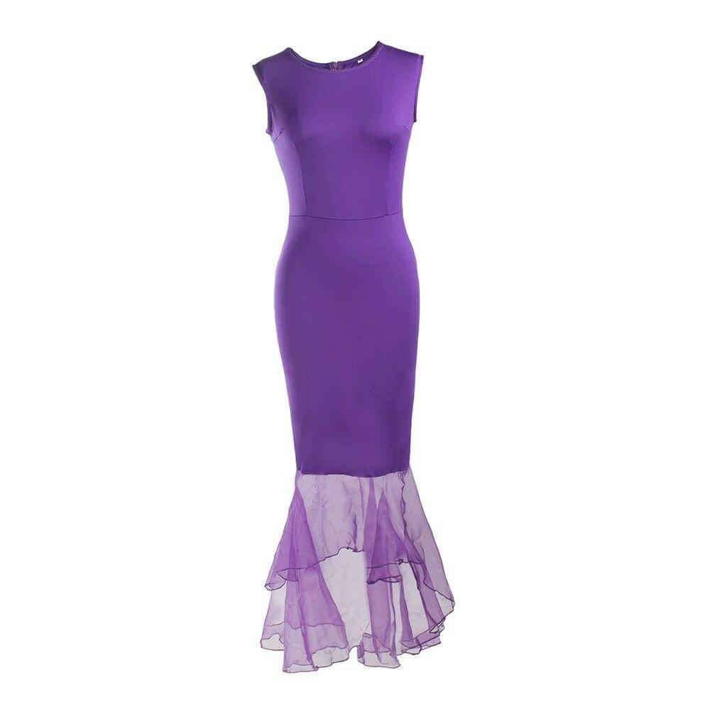 Organza Slim Banquet Full Dress Evening Dress   purple