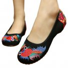 Goldfish Beijing Embroiderede Cloth Shoes Cowhells   black