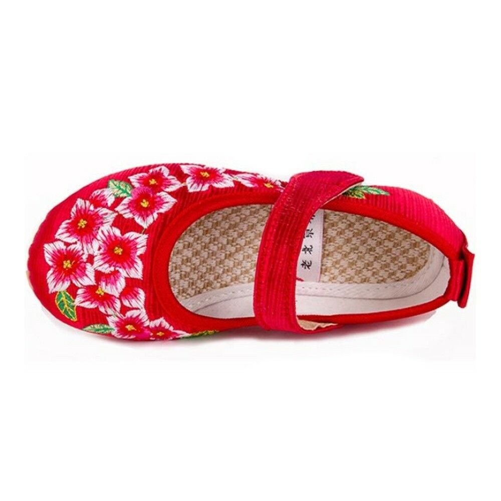Old Beijing Embroidered Cloth Shoes Kid Magic Tape   5808 red