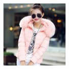 Winter Slim Chic Fur Collar Short Down Coat Woman Hooded   water pink