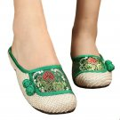 Old Beijing Cloth Embroidered Shoes Flax Slippers   green