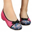 Peacock Old Beijing Cloth Embroidered Shoes  pink