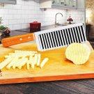 French fries wooden handle waves ripple sliced noodles potato slicer knife