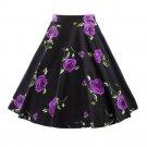 Summer pretty Vintage Printing Bust Skirt Slim Short   purple